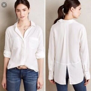 Anthropology Cloth and Stone Tencel Button Down L